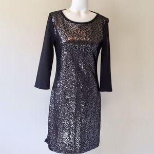 OLD NAVY Gray Sequin 3/4 Sleeve Dress